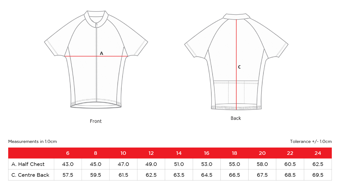 Gear Up Girl Jersey Sizes
